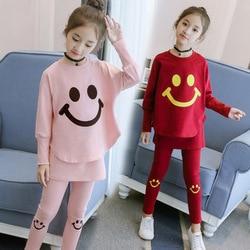 2020 meninas conjuntos de roupas outono primavera manga longa topos t camisa calças 2 pçs agasalho crianças roupa 4 5 6 7 8 ano