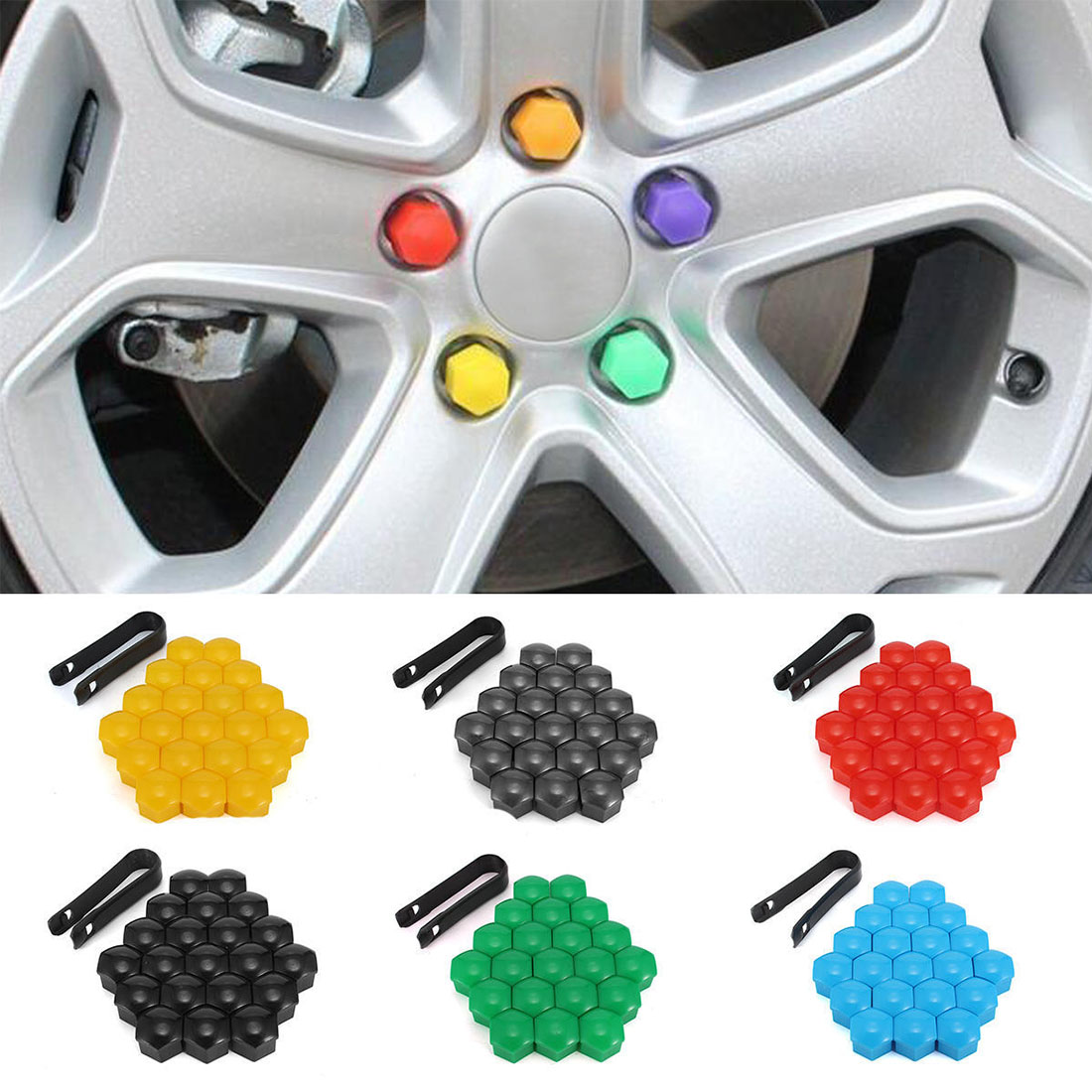 20pcs 17mm Decorative <font><b>Silicone</b></font> <font><b>Car</b></font> Bolt Caps <font><b>Wheel</b></font> <font><b>Nuts</b></font> <font><b>Covers</b></font> Practical Antirust Hub Screw Cap Protector image