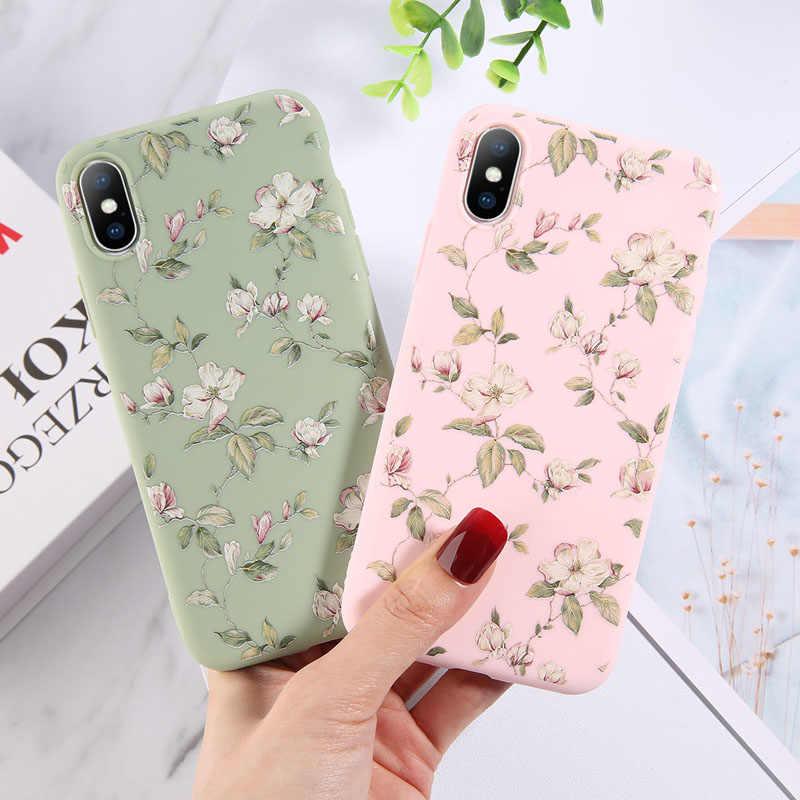 Ottwn สำหรับ iPhone 11 7 8 6 6 S PLUS X XR 11 Pro XS MAX 5 5 S SE ใบดอกไม้สีสันอ่อน TPU ฝาครอบซิลิโคน