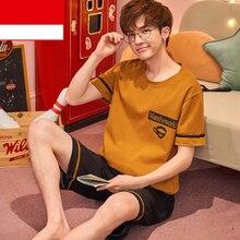 Лето ночная рубашка пижамы костюм шорты рукав сна комплект мужские с круглым вырезом ночное белье футболка брюки ночная рубашка пижамы халат ночные рубашки домашняя одежда