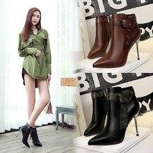 Bigtree Womens ankle boots 2019 elegant high heels black PU leather Chelsea short heel