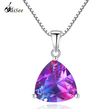 SaiSee Luxury 5.79ct Mystic Rainbow จี้อัญมณีสีม่วง Fire Topaz 925(China)