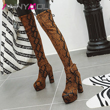 купить ANNYMOLI Winter Thigh High Boots Women Snake Print chunky Heel Over the Knee Boots Slim Stretch Extreme High Heel Shoes Lady 46 дешево
