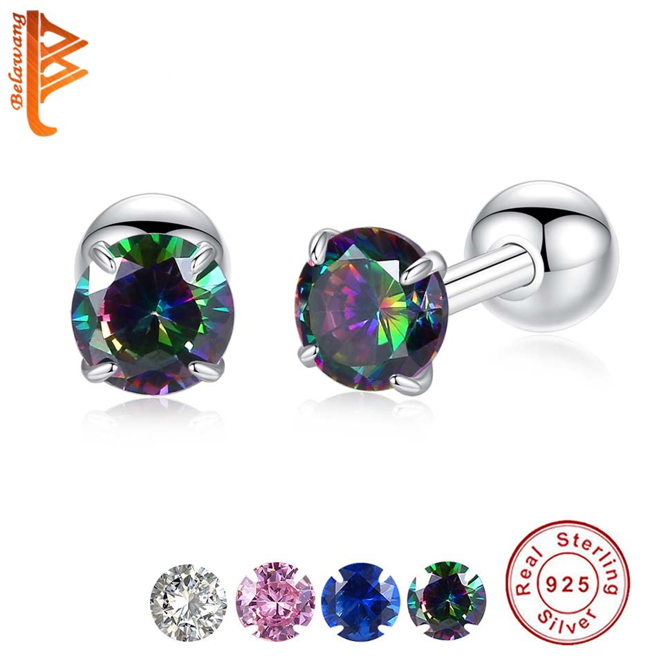 Multi Birthstone Heart Stud Earrings ScrewBack 925 Sterling Silver 12 Month Gems