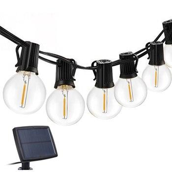جارلاند LED لمبة مصباح حديقة الشمسية الرجعية اديسون 18/25ft USB لوحة طاقة شمسية مصباح مظلة أضواء الشمسية لعيد الميلاد في الهواء الطلق