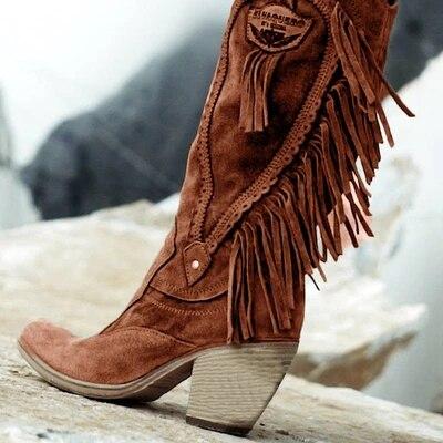 Kadın etnik tarzı orta tüp yüksek topuklu şık sıcak kürk çizmeler süet çizmeler uzun saçak kış işlemeli çizme moda