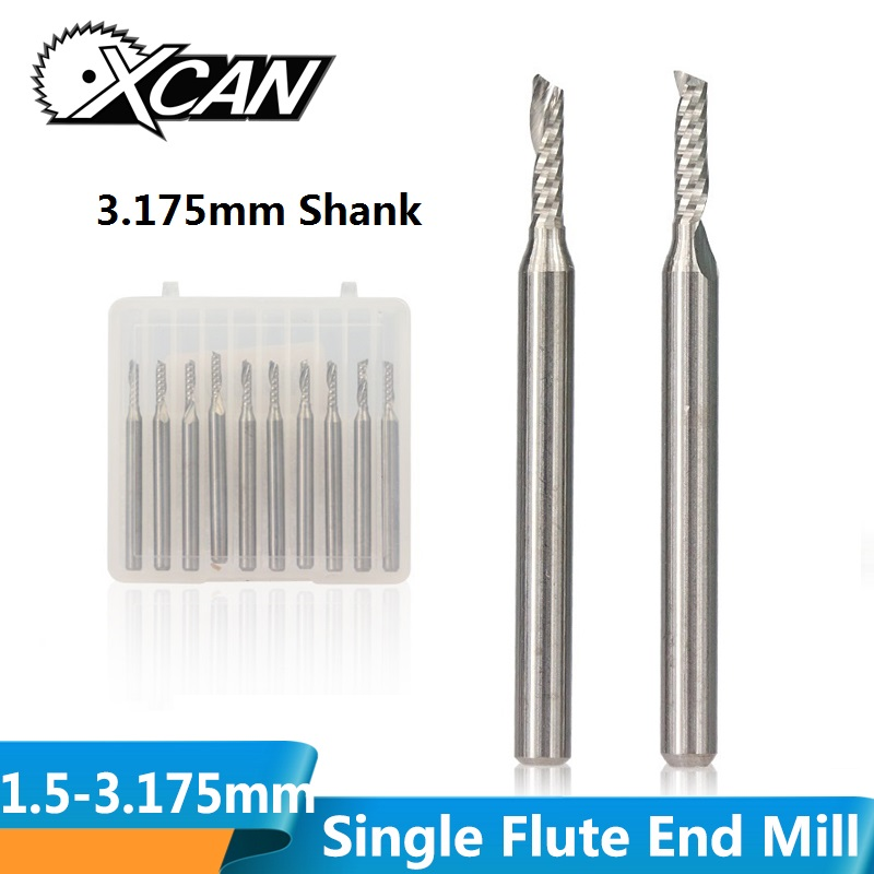 XCAN 10pcs 2x8mm 3.175 shank Single Flute Spiral Router Bits for Cut Wood/Plastic CNC Milling <font><b>Cutter</b></font> 1 Flute End Mills image