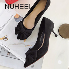 NUHEEL women's shoes classic retro bow high heels spring new fashion wild pointed stiletto shoes women туфли