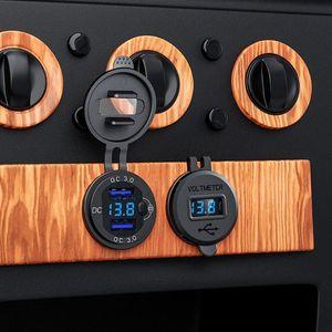 Image 5 - 12V/24V 18W Aluminum Waterproof Dual QC3.0 USB Fast Charger Socket Power Outlet with LED Digital Voltmeter for Car Marine Boat