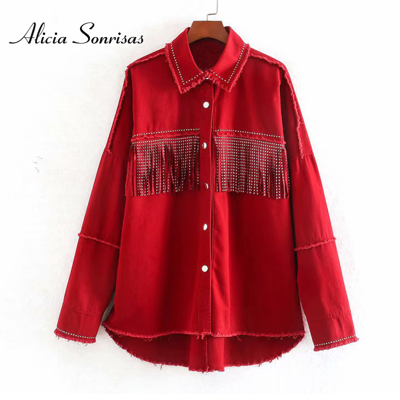 2020 Women Spring Fringed Denim Jacket Retro Tassels Rivets Oversized Beading Jeans Jacket  Loose Red Army Green Outerwear