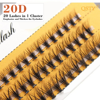 QSTY 20D Professional Makeup Individual Cluster Eye Lashes Grafting Fake False Eyelashes Natural Soft False Eyelash Extension