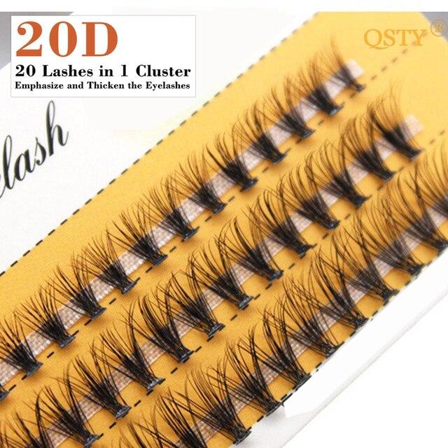 QSTY 20D Professional Makeup Individual Cluster Eye Lashes Grafting Fake False Eyelashes Natural Soft False Eyelash Extension