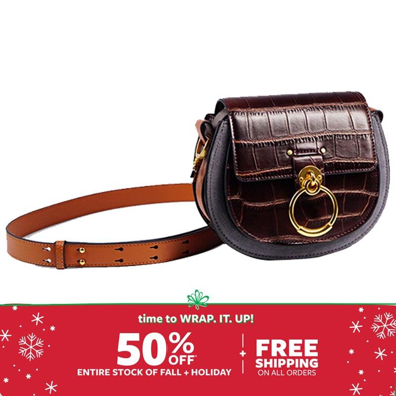 Genuine Leather Saddle  Woman Fashion Crocodile Pattern Women's Real Leather Luxury Brand Shoulder Purse