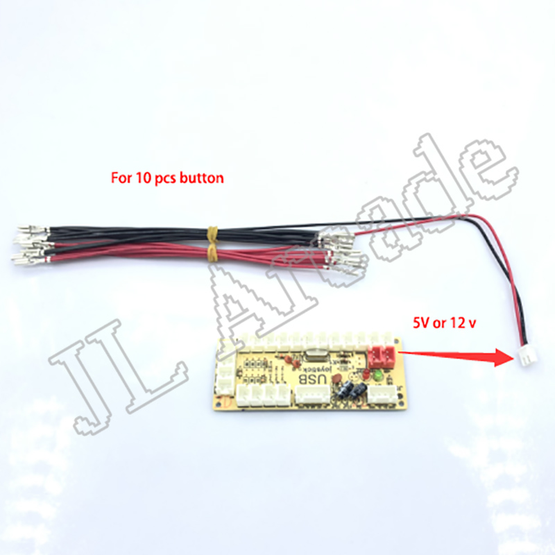 JL  Arcade LED Push Button Cable 5V/ 12v Led Lamp Cable 2.8mm & 6.3mm Terminal And 2Pin Wire Harness