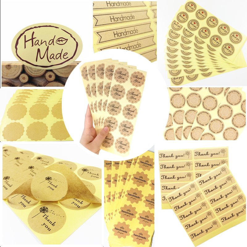 100pcs/lot Cake Box Sealing Label Various Shapes Handmade Diary Stickers Office Supplies For Gifts Girls Lable Stickers