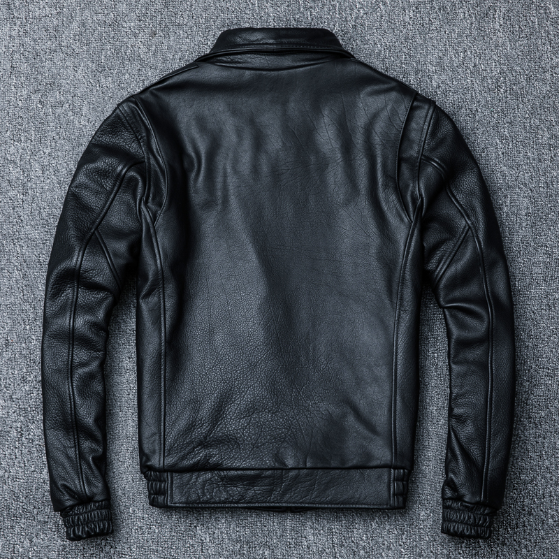 Real Cow Jackets Spring Autumn Genuine Leather Men Vintage Cowhide Coat Plus Size Motorcycle Jacket 1213 YY982