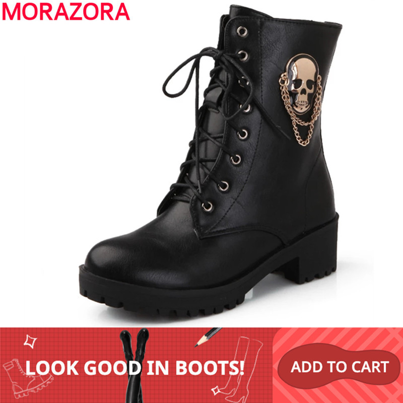 MORAZORA 2019 hot sale ankle boots for women skull street lace up platform women's boots fashion ladies autumn winter boots shoe-in Ankle Boots from Shoes