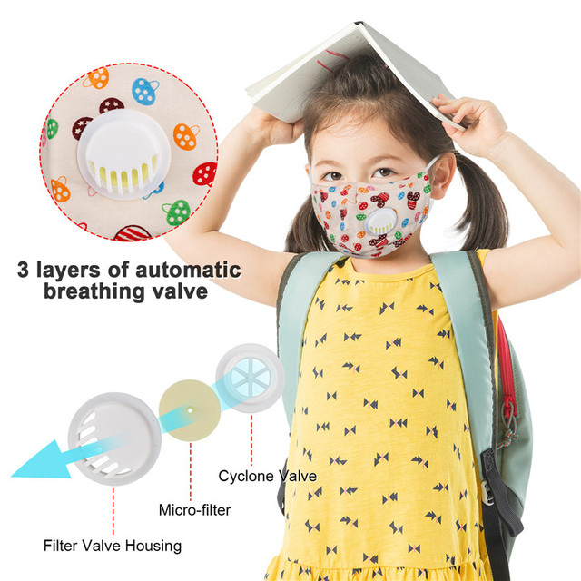 10pcs children Face Mask Reusable Washable pm2.5 Anti flu kids masks Bacteria Virus Breathable Valved Respirator Filter paper 2