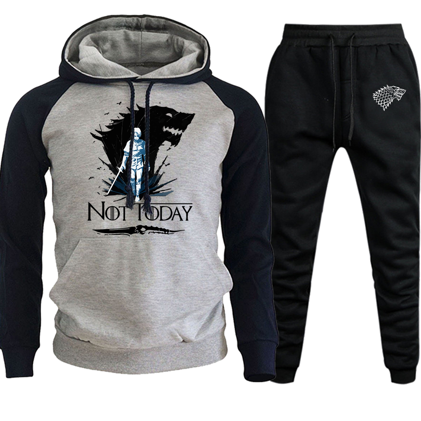 Not Today Game Of Thrones Arya Stark Autumn Winter 2019 Streetwear Raglan Men Hooded Suit Casual Pollover+Sweatpants 2 Piece Set
