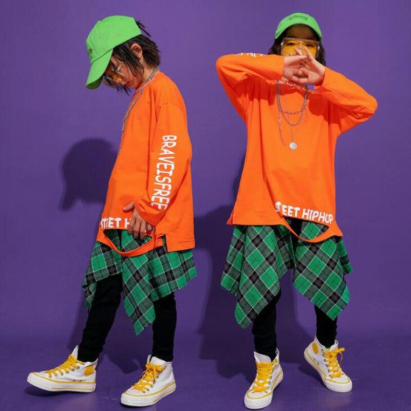 Kid Hip Hop Clothing Loose Sweatshirt Girls Cheerleader Jazz Dance Wear Costumes Kids Drum Stage Ballroom Dancing Clothes Wear