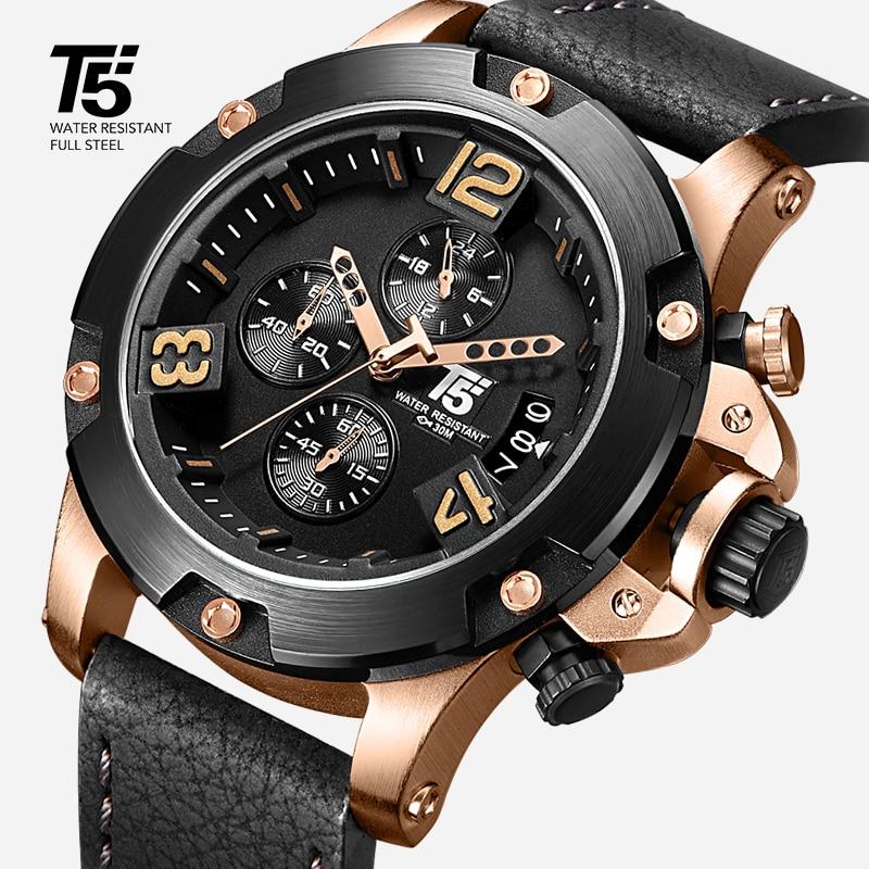 Saatler'ten Kuvars Saatler'de Gül altın Deri Kayış T5 Lüks Siyah marka adam Kuvars Chronograph Su Geçirmez Mens Watch Spor Saatler Erkek Kol Saatleri'da  Grup 1