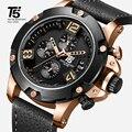 Rose gold Lederband T5 Luxus Schwarz marke mann Quarz Chronograph Wasserdicht Herren Uhr Sport Uhren Männer Armbanduhren-in Quarz-Uhren aus Uhren bei