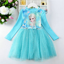 Teenster Christmas Winter Fleece Elsa Dress Vestidos Bow Sequins Mesh Little Girls Party Tutu Dresses Fall Cute Kids Cotume(China)