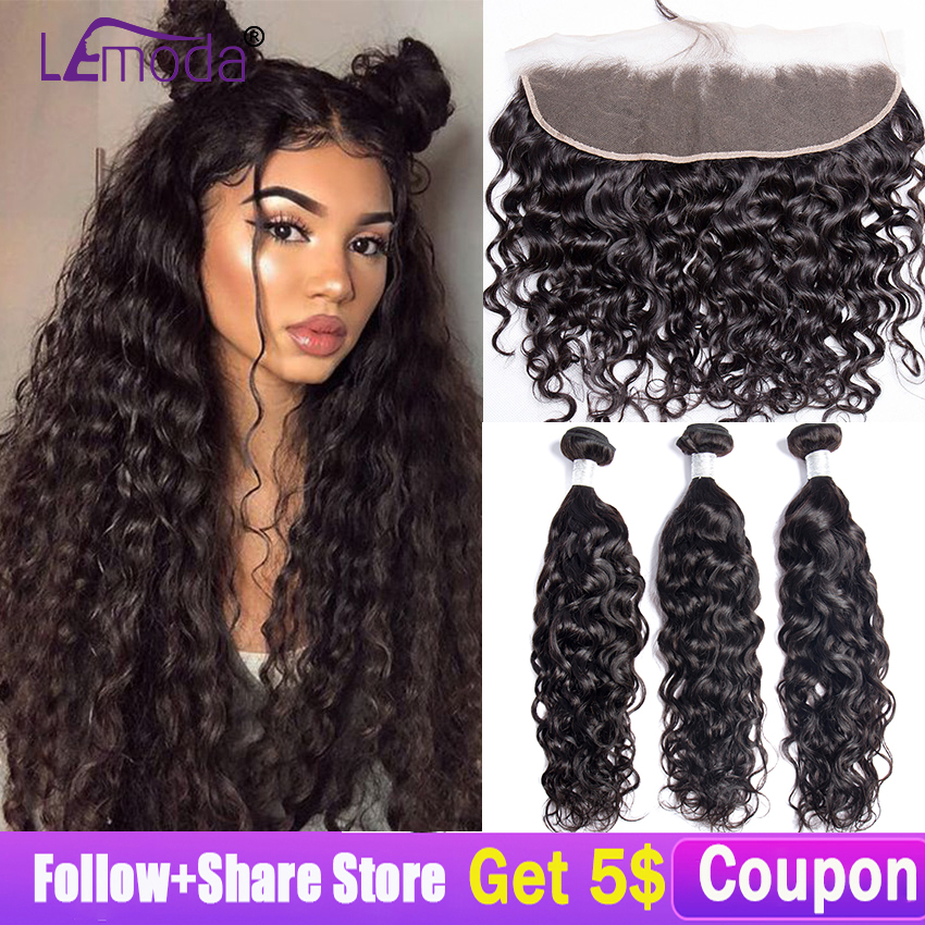 Hdba69ef3c5884ff9bd52ca64f6977082a LeModa Malaysian Water Wave Human Hair 3 Bundles With Lace Frontal Closure Remy Hair Extensions 13x4 Lace Frontal With Bundles