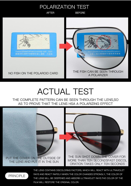 Image 4 - Fashion Design Pilot Sunglasses Men Polarized Safe Driving Glasses Photochromic Women Male Drivers Eyewear gafas de sol hombreMens Sunglasses   -