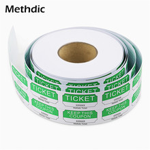 Methdic 1000 tickets/roll Printing Double Raffle Ticket Roll for Party