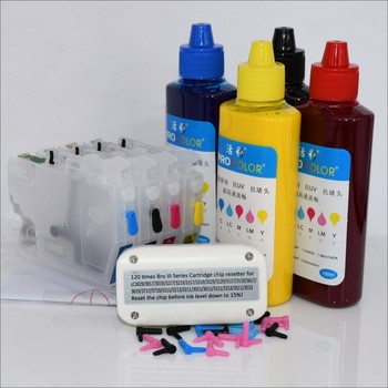 LC3313 LC3311 zestaw uzupełniający atrament pigmentowy wkład atramentowy do drukarki Brother DCP-J772DW MFC-J491DW MFC-J890DW ARC chip Resetter tanie i dobre opinie welcolor CN (pochodzenie) Zestaw wkładem BK C M Y dye ink or pigment ink With LC3313 XXL one time Chips BK 25ml C M Y 20ml color