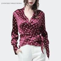 100% Silk Blouse Women Top Wine Red Polka Dot V Neck Long Sleeve Blouses Crossed Lace Up Fashion Elegant Slim Female Party Shirt