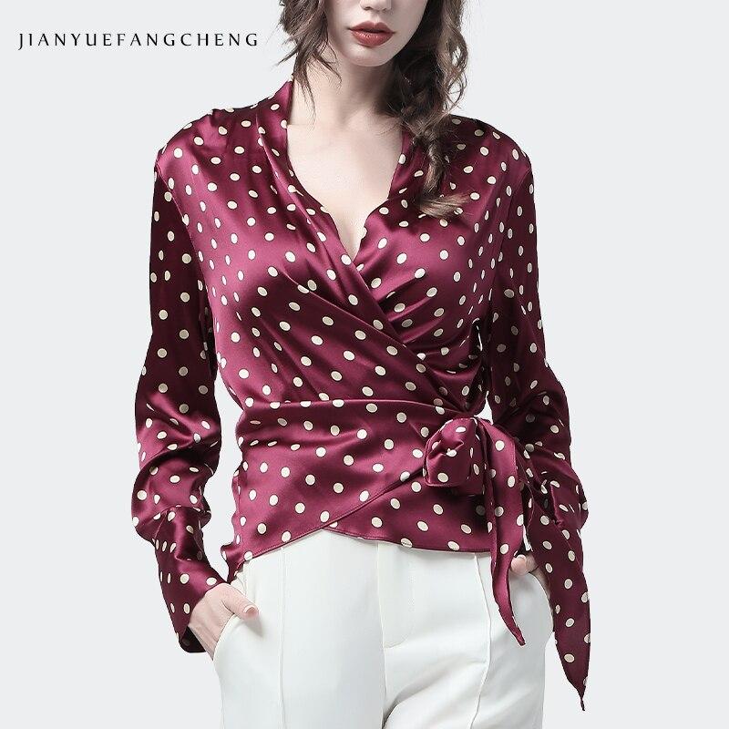 100% шелковая блузка Женская Топ винно Красного цвета в горошек с v образным вырезом и длинными рукавами, блузки с перекрестной шнуровкой, Модная элегантная тонкая женская вечерняя рубашка
