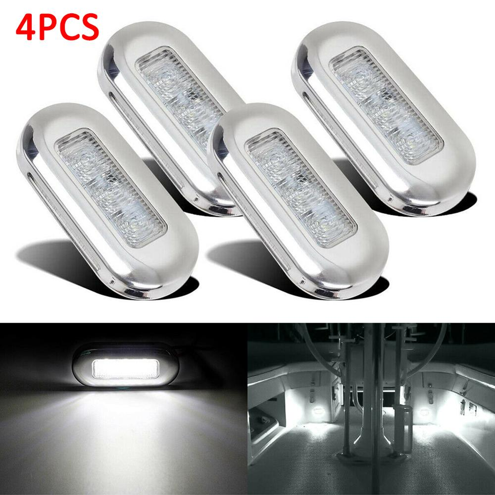 4Pcs 12V Boat Stair Deck 3 LED Side Marker Light Indicator Turn Signal Light Bulbs Taillight For Marine Yacht Trailer RV Campers