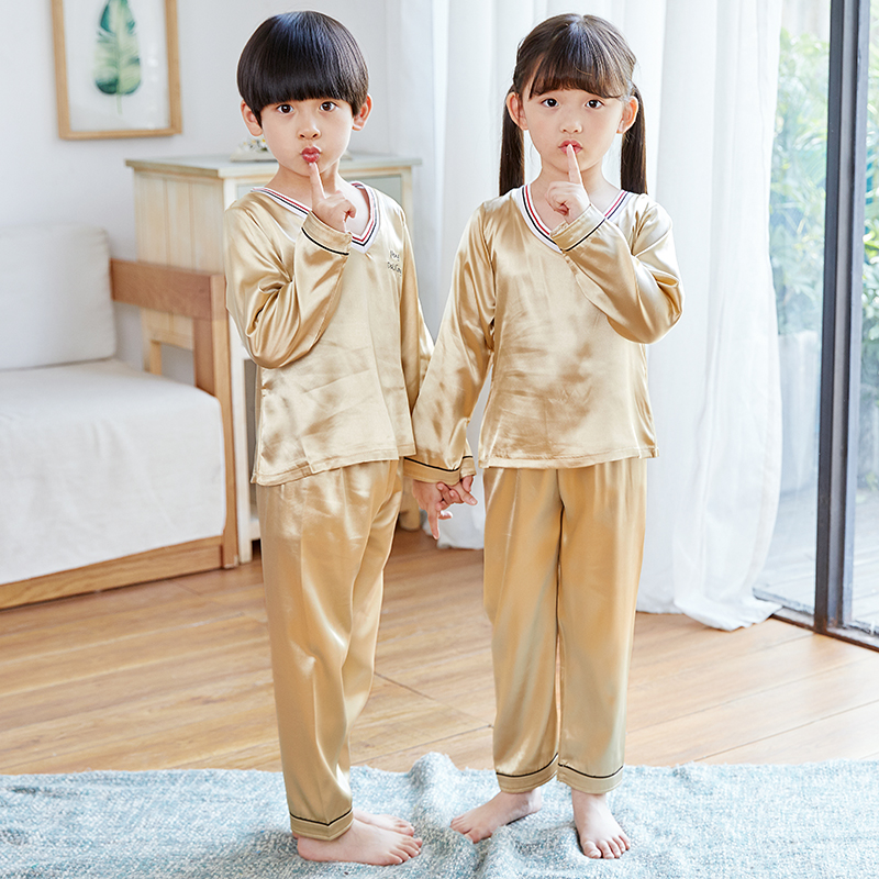 New V-neck Long Sleeve   Pajamas     set   for Girls Boys pjs Autumn Silk Satin Pijama mujeer kids Pyjamas Sleepwear suit 3-13 years