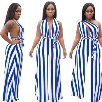 Stripe Backless Summer sexy jumpsuit rompers womens bodysuit Sleeveless jumpsuits for women clothes Deep V-neck club outfits