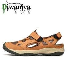 Männer Sommer Atmungsaktive Schuhe 2019 Männer Strand Sandalen Sommer Echtem Leder Schuhe für Strand Outdoor wanderschuhe Männlichen Wasser Schuhe