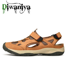 Men Summer Breathable Shoes 2019 Men Beach Sandals Summer Genuine Leather Shoes for Beach Outdoor Walking shoes Male Water Shoes
