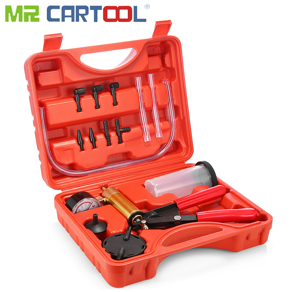 Mr Cartool Hand Held DIY Brake Fluid Bleeder Tools Vacuum Pistol Pump Tester Kit Aluminum Pump Body Pressure Vacuum Gauge