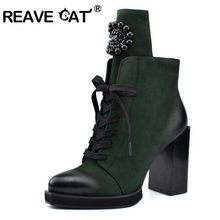 REAVE CAT Women's Winter Chunky Boots Thick High heels ankle booties Platform lace up shoes Party club footwear black gray Sexy(China)