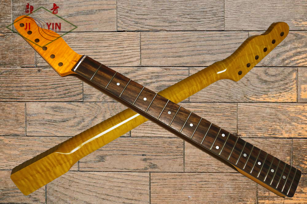 New Electric Guitar Neck  Flame Maple TL Style Rosewood Fingerboard Tiger Pattern 22 Fret 25.5 Inch