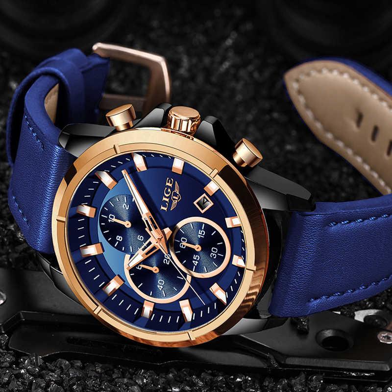 LIGE Neue Wasserdichte Herren Uhr Top Luxus Männer Chronograph Military Armbanduhr Fashion High-Qualität Leder Quarz Uhren Männlichen