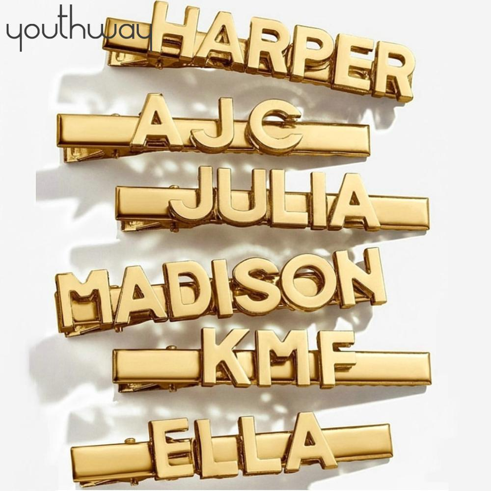 CUSTOMIZE Smooth Metal Letter Word Haipins Personalized Gold Color Word Name Hair Clips Bridal Kids Hair Accessoires Jewelry