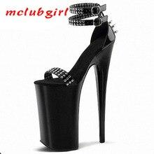 Mclubgirl czarny nit klub nocny kobiety sandały 20cm wysokie obcasy grzywny wodoodporny klub nocny Punk taniec buty kobiety Plus rozmiar LYP