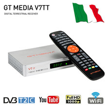 GTMEDIA-receptor de televisión Terrestre V7TT, sintonizador DVB-T2/C H.265, HEVC, 10 bits, digital, Terrestre, DVB T2, Italia, gran oferta