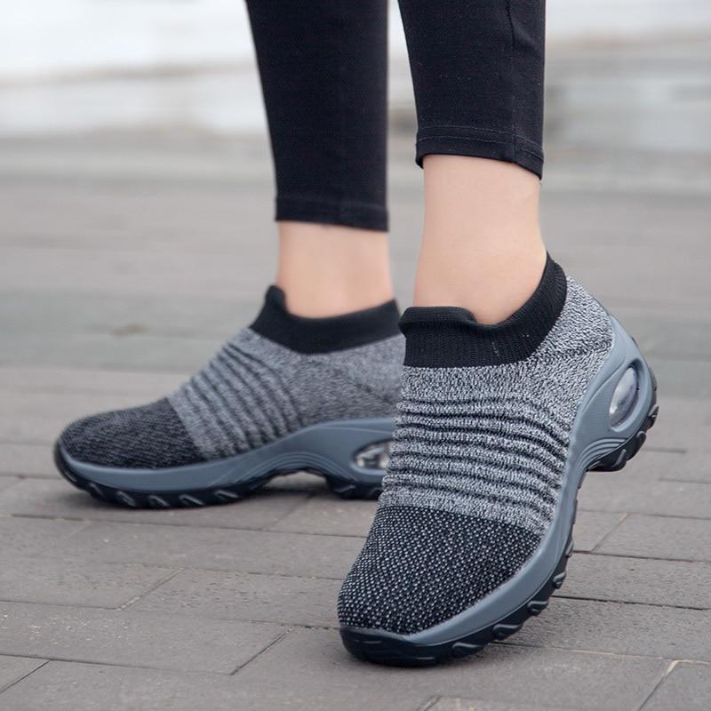 Femme Baskets Respirant slip on Chaussette Baskets d/'été confortables escarpins chaussures Hot
