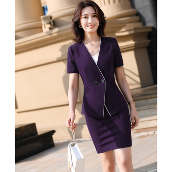 Formal Uniform Styles Blazers Suits Two Piece with Tops and Skirt for Ladies Office Work Wear Professional Summer Blazer Sets formal work wear uniform styles professional spring summer business suit vest skirt ol blazers women skirt suits outfits sets