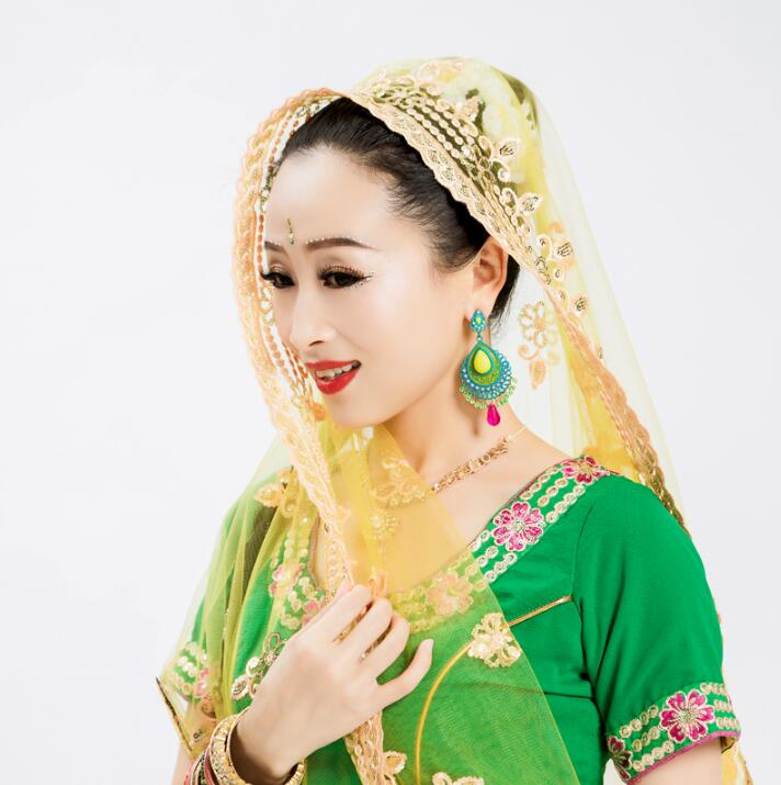 India Saree Dupattas Big Scarf Mesh Georgie Embroidery Lehenga Scarf For Woman Belly Dance Veil Soft Hijab