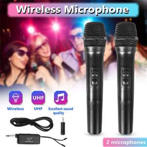 2 PCS Professional Wireless Microphone System with Receiver UHF Handheld Microphone Speaker Karaoke Meeting Party Mic