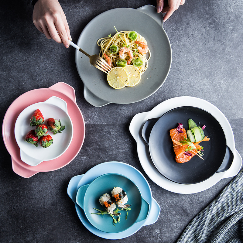 Binaural round flat Nordic style frosted simple ceramic tableware restaurant dining table dishes and plates sets  dinner plates